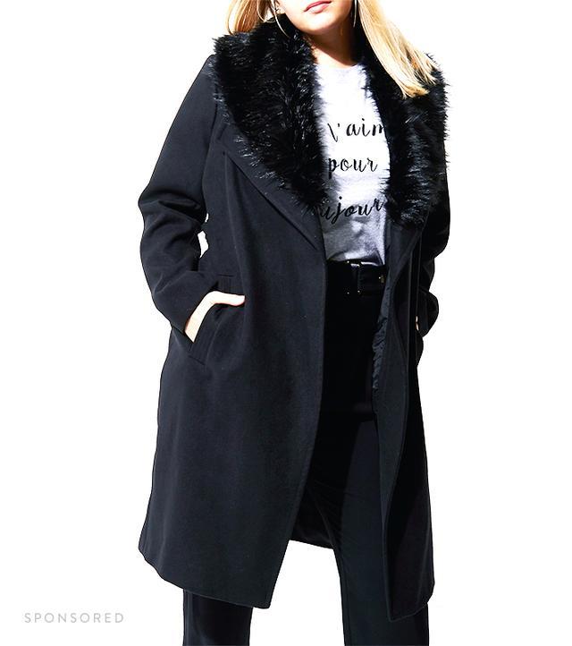 River Island Plus Black Faux Fur Trim Ribe Coat