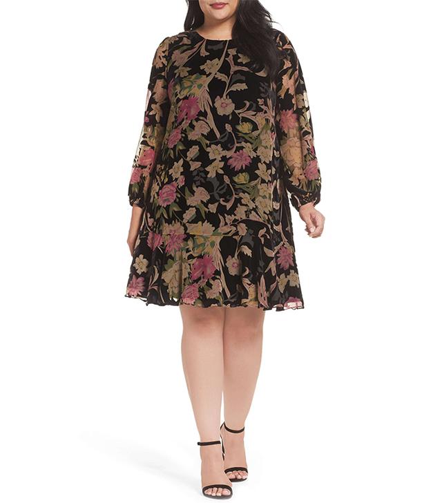 Burnout Velvet A-Line Dress