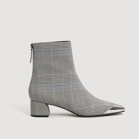 Metallic Pointed Toe Check Ankle Boots