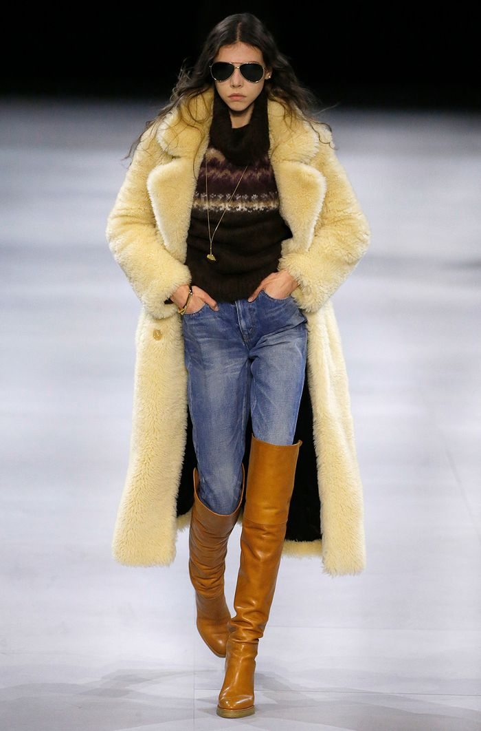 Teddy bear coats: worn with jeans and a jumper on the Celine A/W 19 runways