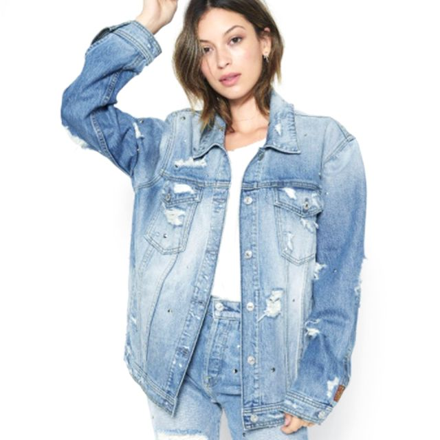 7 for All Mankind Oversized Boyfriend Jacket With All Over Studs