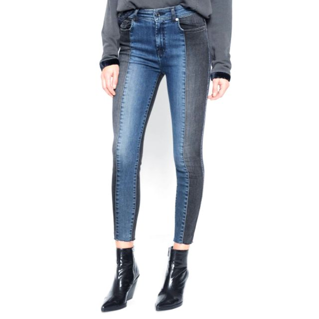 7 for All Mankind Ankle Skinny With Piecing and Cut Off Hem