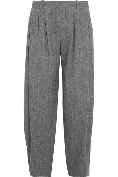 Pleated Wool-blend Tweed Wide-leg Pants