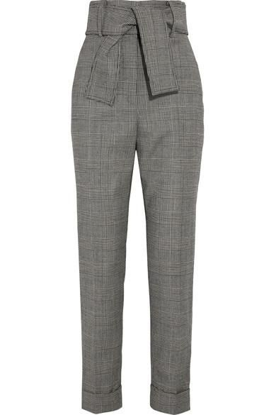 Prince Of Wales Checked Wool-blend Tapered Pants
