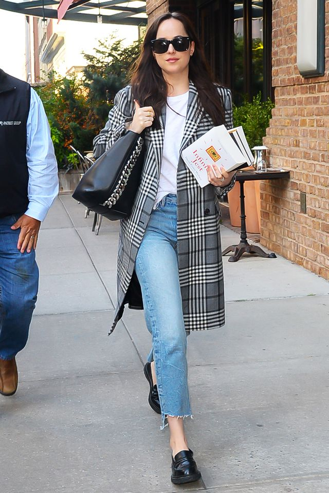 Dakota Johnson Plaid Coat and Jeans