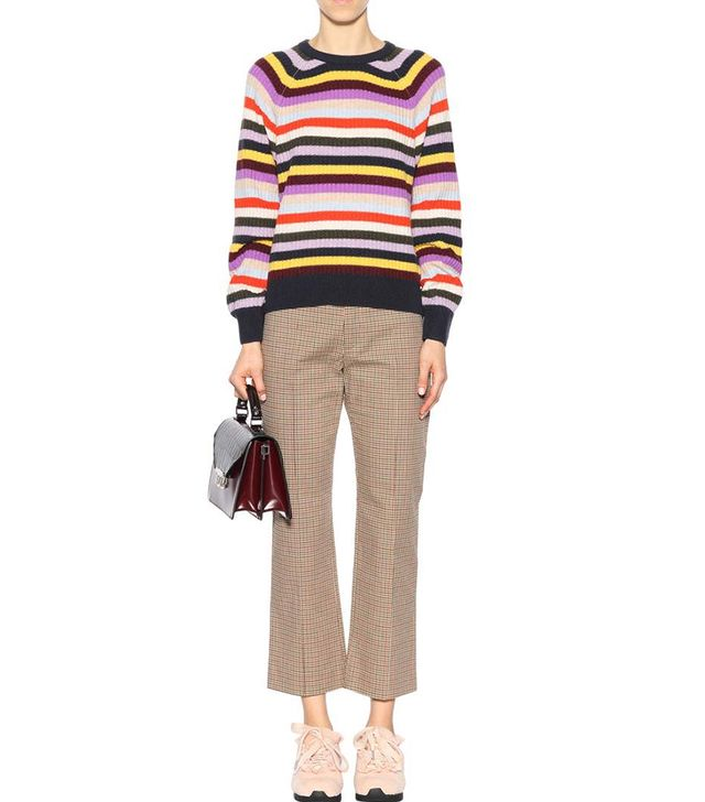 Ganni Mercer Striped Wool-Blend Sweater