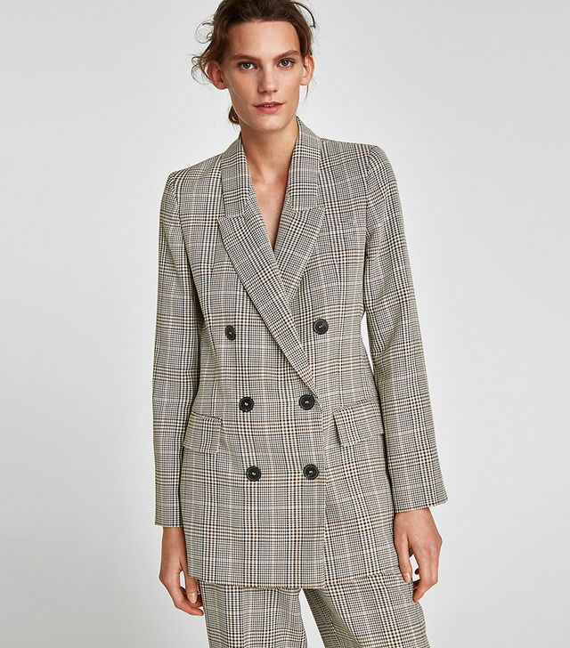 Zara Double-Breasted Checked Blazer