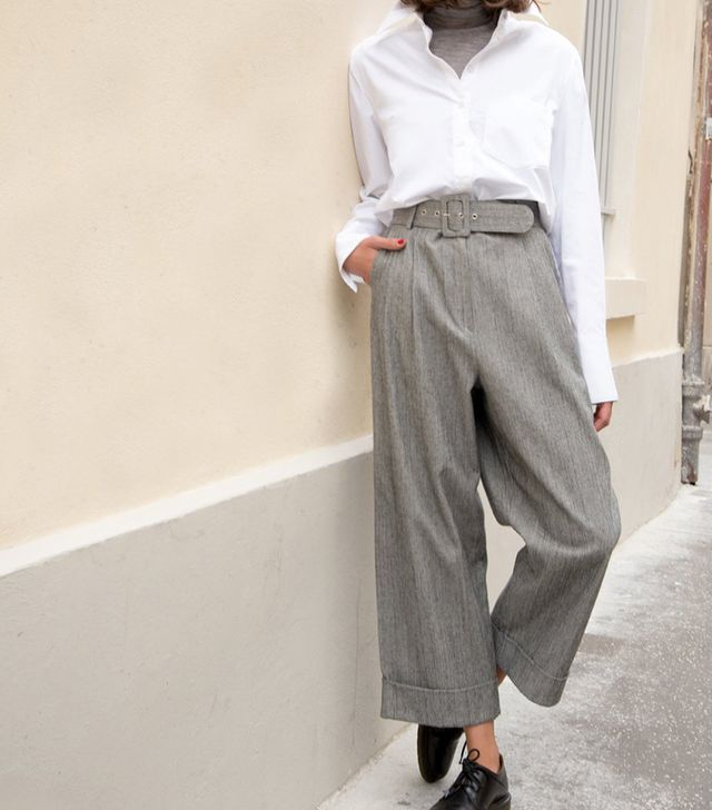 Frankie Shop Grey Tweed Belted Trousers