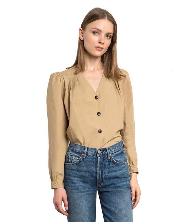Pixie Market Emma Tan Button Shirt
