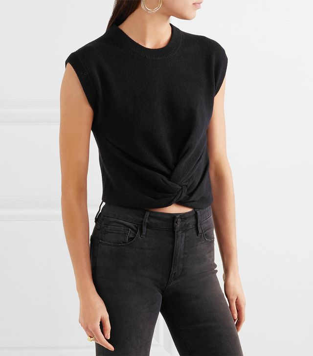 T by Alexander Wang Cropped Twist-Gront Wool and Cashmere-Blend Sweater