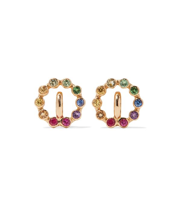Rainbow Saturn Xs 18-karat Gold Multi-stone Earrings