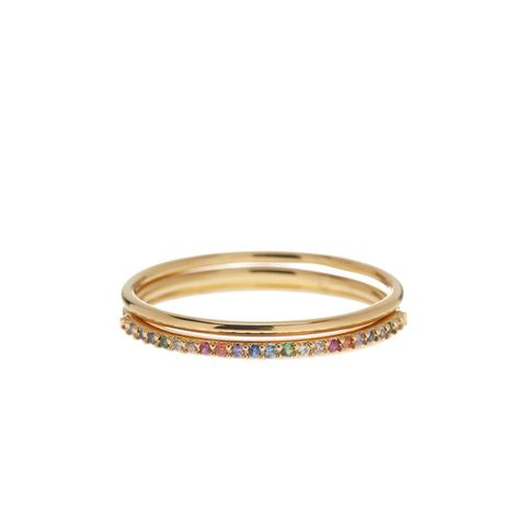 CZ Shimmer Bar Stacked Rings, 3-Piece Set