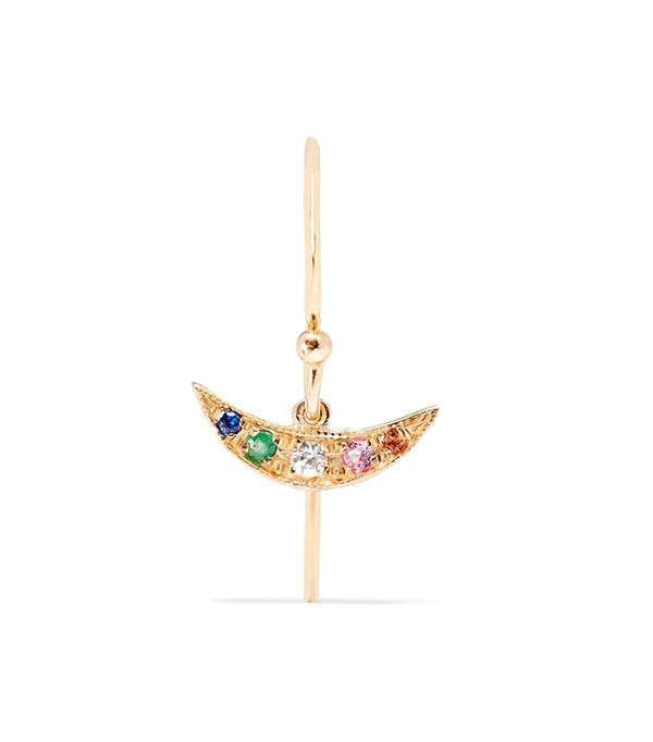 Rainbow Balance 14-karat Gold Sapphire Earring