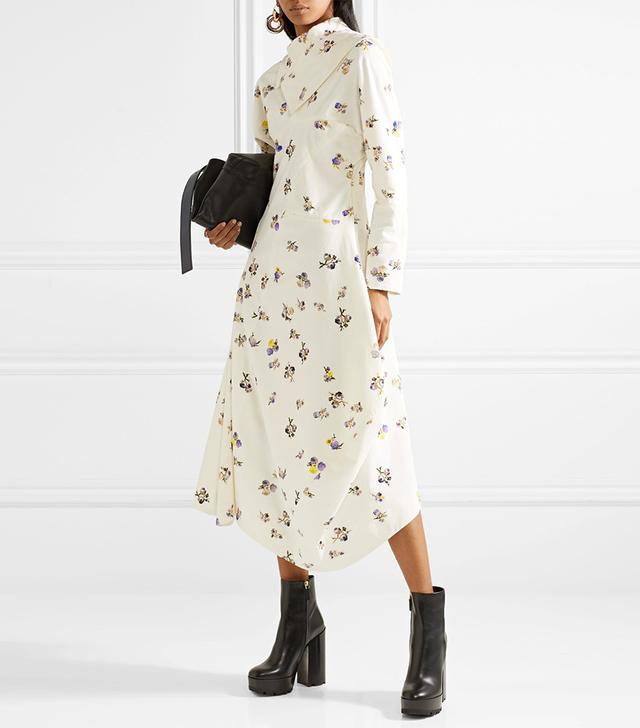 Dragica Asymmetric Floral-print Cotton-corduroy Midi Dress