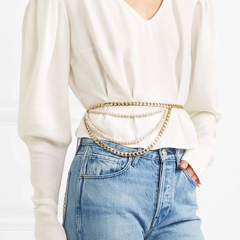 San Escobar Gold-Tone and Pearl Belt