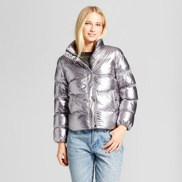 Boxy Metallic Puffer Jacket