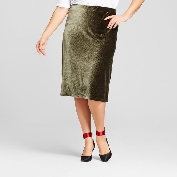 Plus Size Velvet Midi Skirt