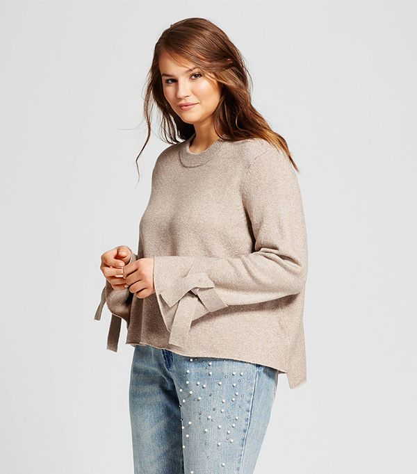 Plus Size Tie Sleeve Sweater
