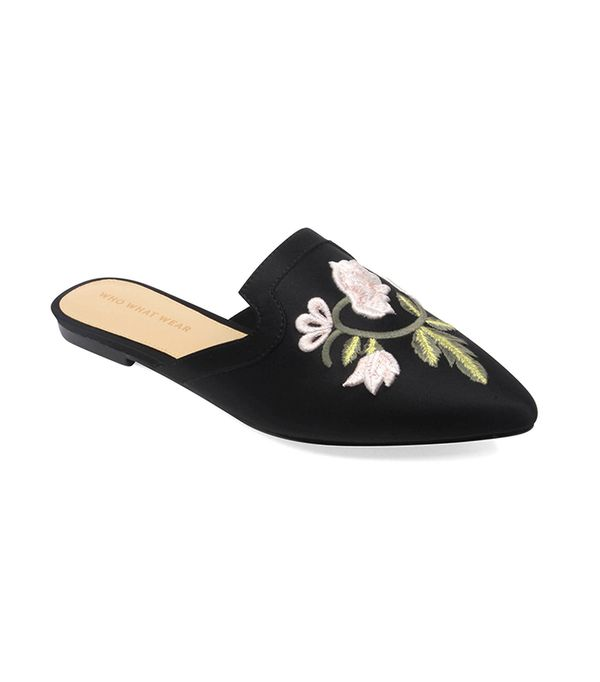 Serafina Embroidered Satin Flat Mules