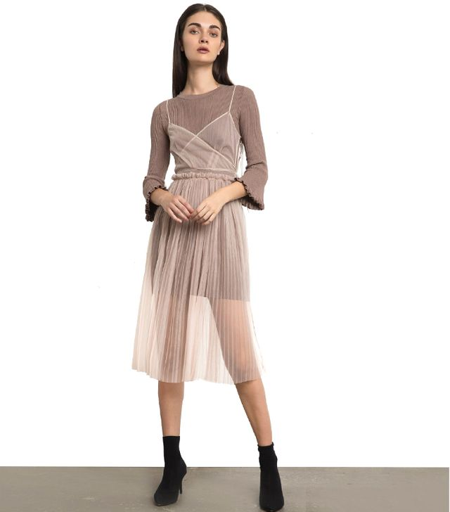 Pixie Market Chloe Taupe Knit Organza Layered Dress