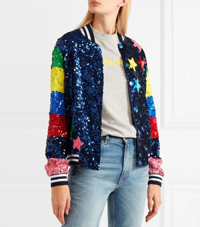 Mira Mikati Sequined Silk Bomber Jacket