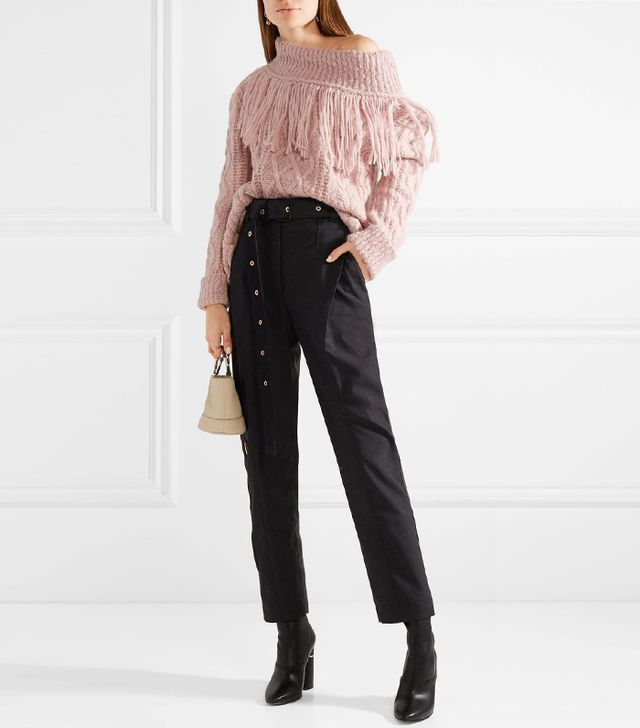 Philosophy di Lorenzo Serafini Fringed Off-the-Shoulder Cable-Knit Alpaca-Blend Sweater