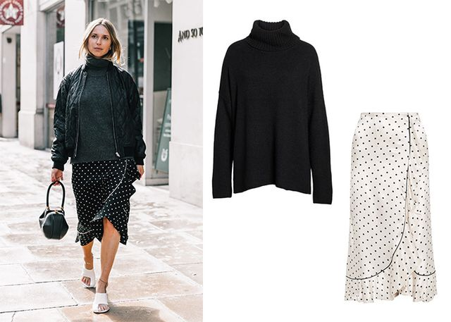 Feminine polka-dots meets masculine turtleneck in this match made in sartorial heaven.Just add white or black ankle boots for a street style moment waiting to happen.