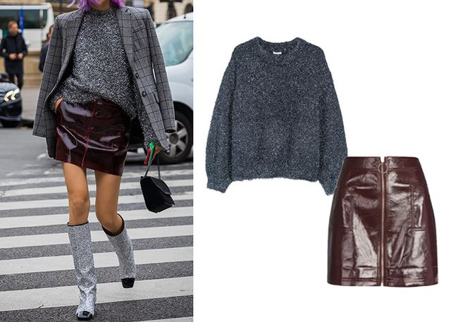 The ultimate fashion-girl power pairing—a loose crewneck sweater tucked nonchalantly into a chic miniskirt (preferably in leather or a check print). Let a longline blazer and knee-high...