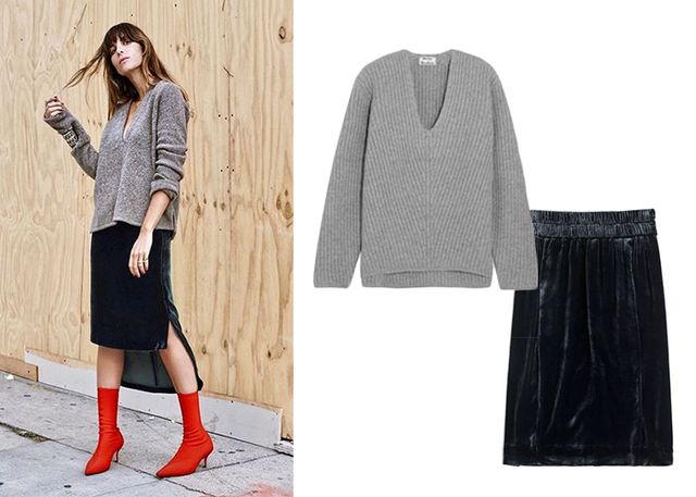 Nothing says fall like a sumptuous velvet skirt. Graduate to fashion-girl status by pairing it with a slouchy V-neck sweater and poppy-red sock boots.