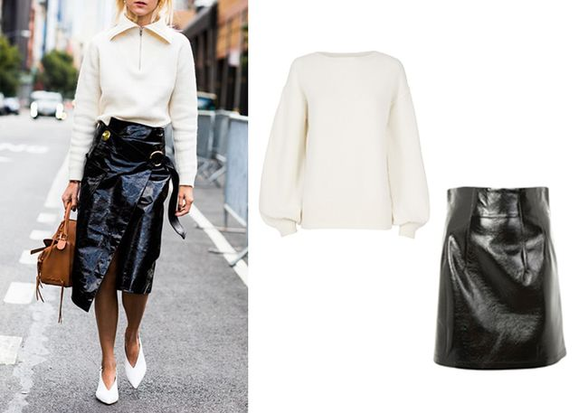 Opposites attract: Toughen up a soft and cozy white sweater (or a sporty pullover) with a tough and edgy patent leather skirt. Guaranteed to make your Instagram look seriously chic.