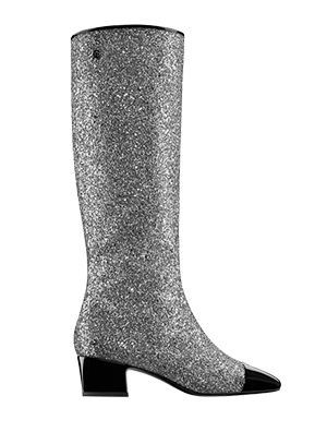Glittered Fabric High Boots