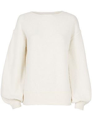 Helmut Lang Balloon Sleeve Pullover Sweater Ivory M
