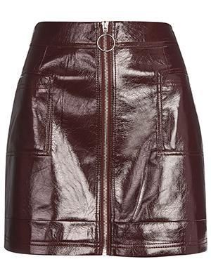 Cracked Vinyl Zip Mini Skirt