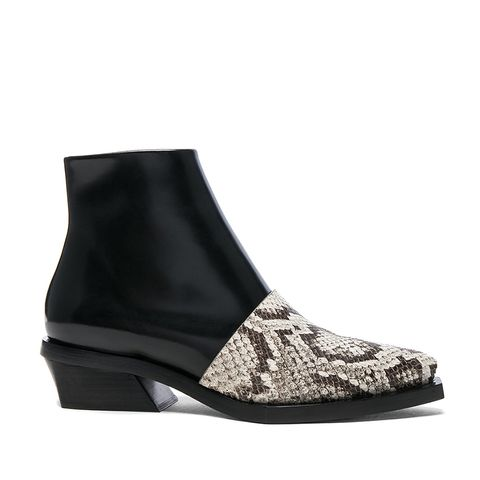 Leather and Snakeskin Ankle Boots