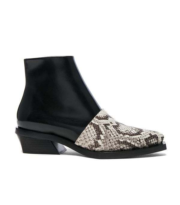 Proenza Schouler Leather and Snakeskin Ankle Boots