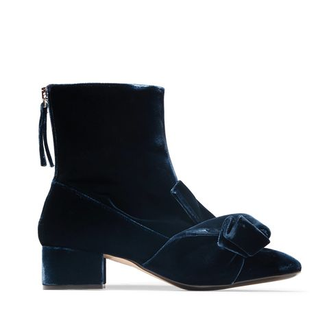 Knotted Velvet Ankle Boots