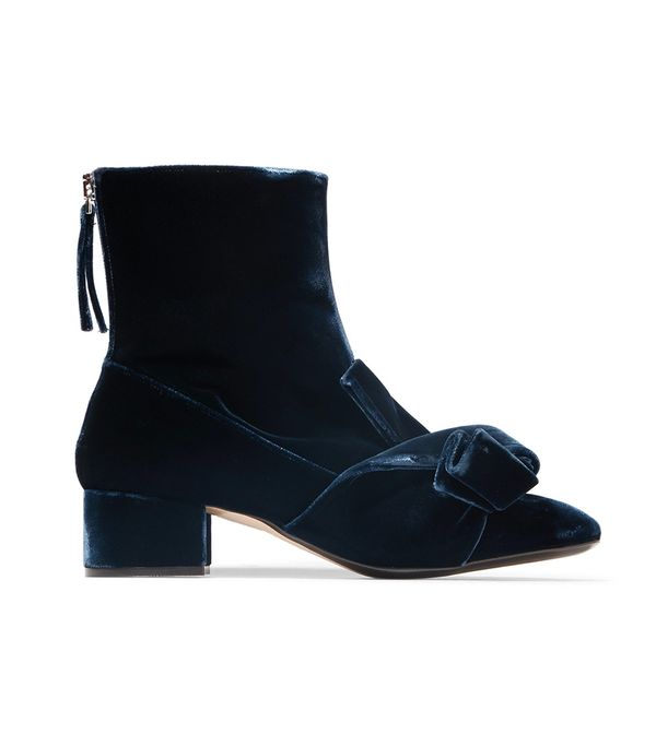 No. 21 Knotted Velvet Ankle Boots
