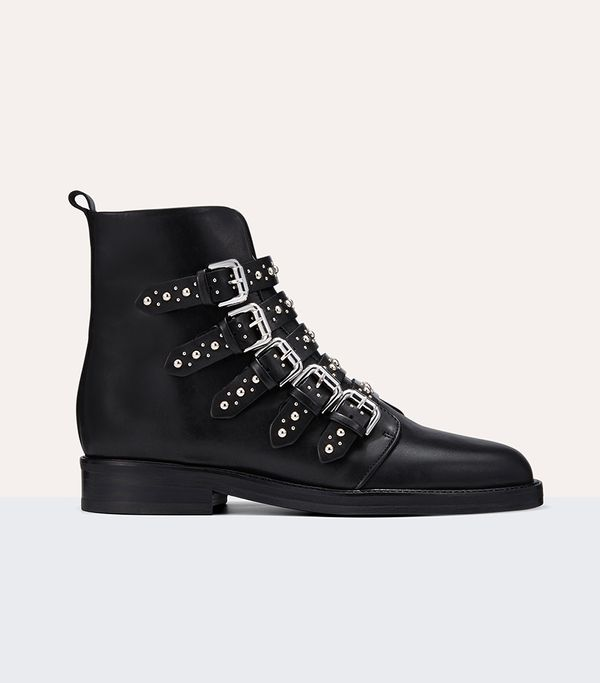 Maje Leather Ankle Boots With Studs