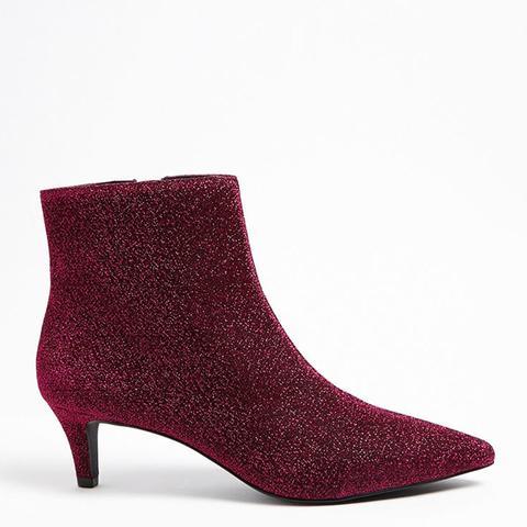 Metallic Kitten Heel Ankle Boots