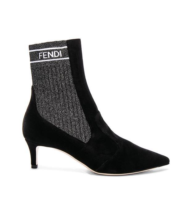 Fendi Rockoko Velvet Ankle Boots