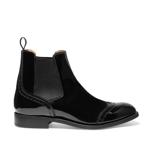 Simone Patent-Leather Chelsea Boots
