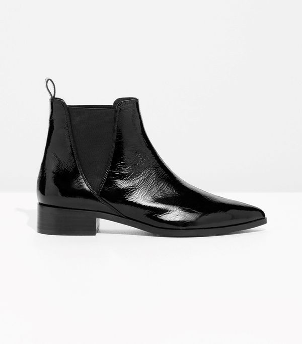 & Other Stories Snake Embossed Leather Chelsea Boots