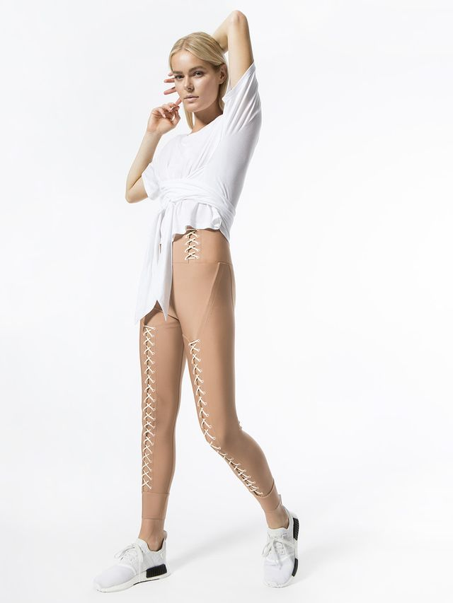 Jonathan Simkhai x Carbon38 Lace Up Corset Leggings in Toasted Nut