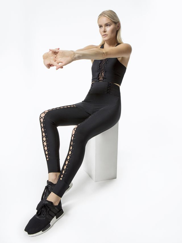 Jonathan Simkhai x Carbon38 Lace Up Corset Leggings in Black