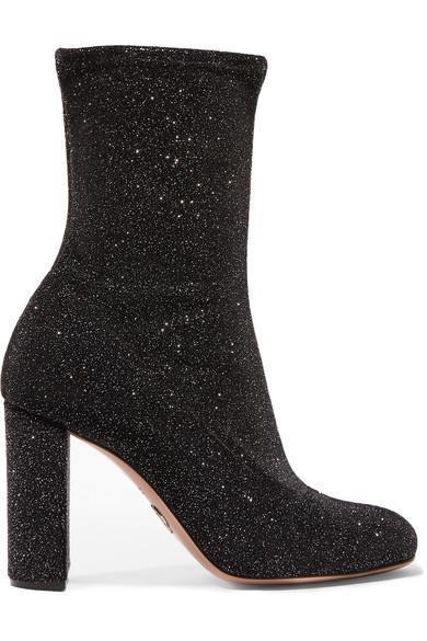 Giorgia Glittered Velvet Sock Boots