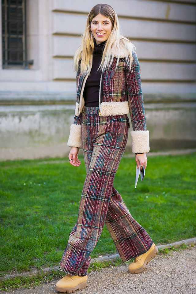 Veronika Heilbrunner in plaid set.