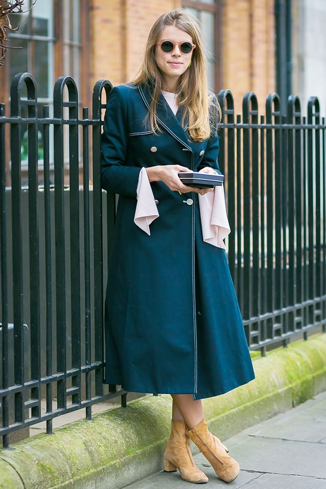 Monica Ainley in teal coat