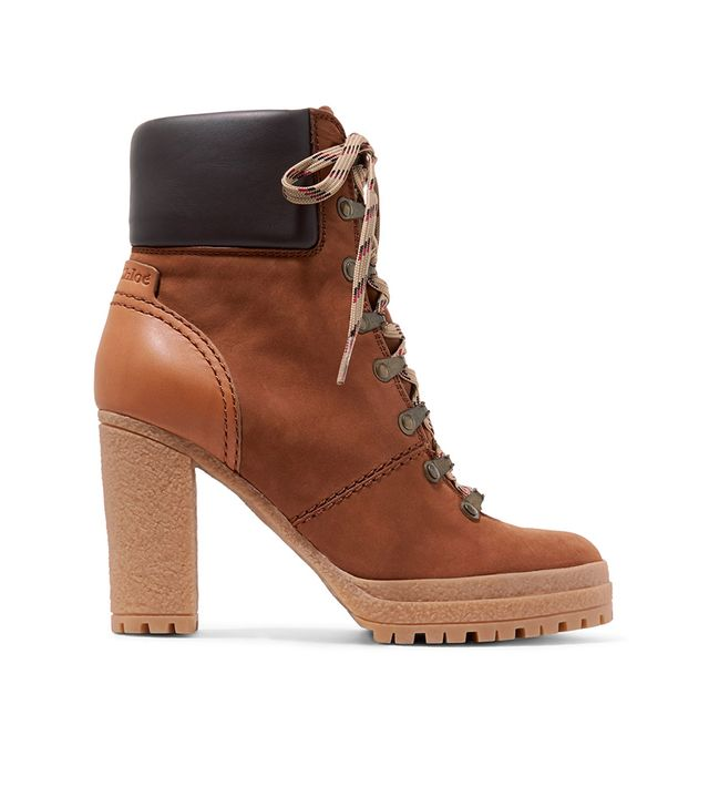 Leather-trimmed Nubuck Ankle Boots