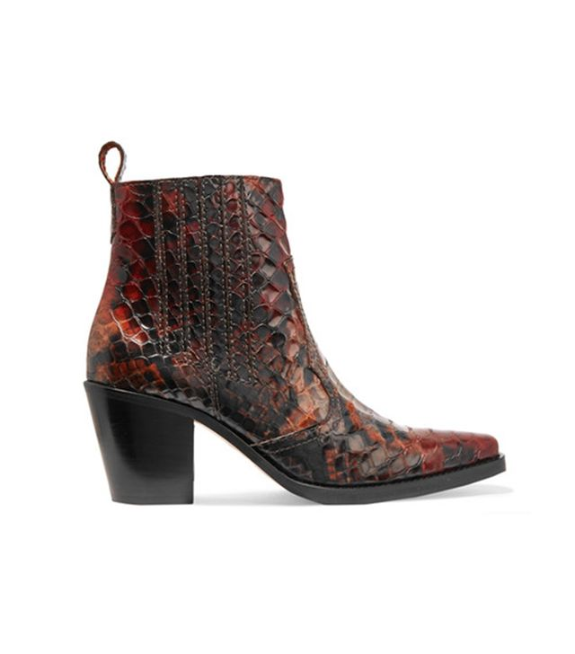 Maryse Croc-effect Leather Ankle Boots