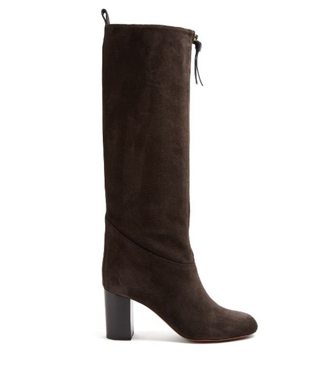 Paisley suede knee-high boots